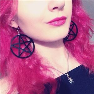 Earrings Large Pentagram Gothic  Punk Jewelry